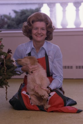 Betty Ford cooked up a bundle full of cute with this Christmas Golden Retriever puppy. Source: Gerald R. Ford Presidential Library