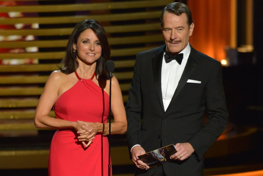 """Hold on, Clark Gable."" — Julia Louis-Dreyfus, presenting with a mustachioed Bryan Cranston"