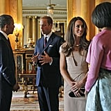 President Obama and First Lady Michelle Obama met with the Duke and Duchess of Cambridge at Buckingham Palace in May 2011.