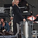 Gwen Stefani practiced on stage with No Doubt in NYC.
