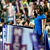 Michelle Obama wearing a cobalt blue Christian Siriano dress at the DNC in July 2016 in Philadelphia.