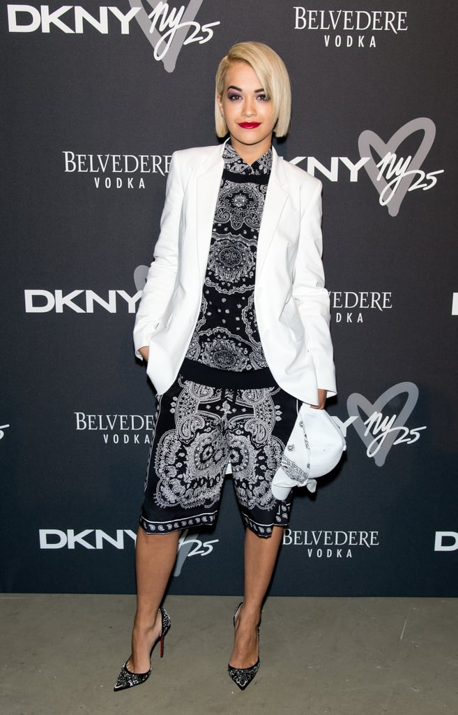 Rita Ora tamed her busy black-and-white ensemble with a crisp white blazer at the DKNY Birthday Bash.