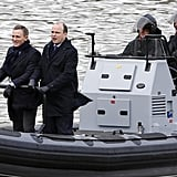Daniel Craig, as James Bond himself, glided with Rory Kinnear, who plays Tanner, on a boat.