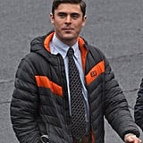 Zac Efron transformed into a prepster on the set of Dirty Grandpa in Atlanta on Monday.