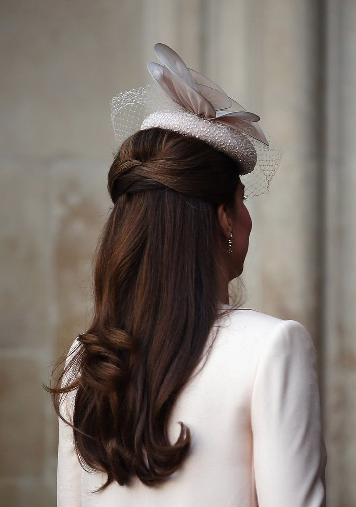 At the 60th anniversary of the queen's coronation, Kate pulled the top of her blow dry into a chic and easy knot.