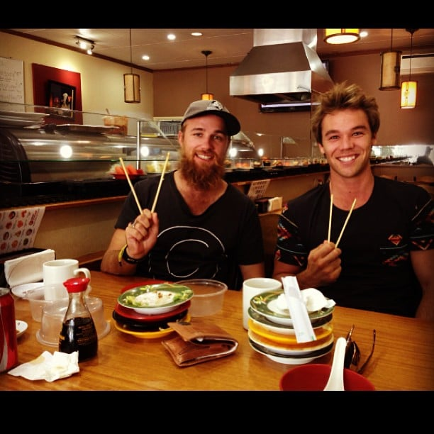 Lincoln Lewis and a friend had a sushi train lunch date. Source: Instagram user linc_lewis