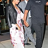 Beyoncé Draped a Leather Jacket Over Her Floral Dress