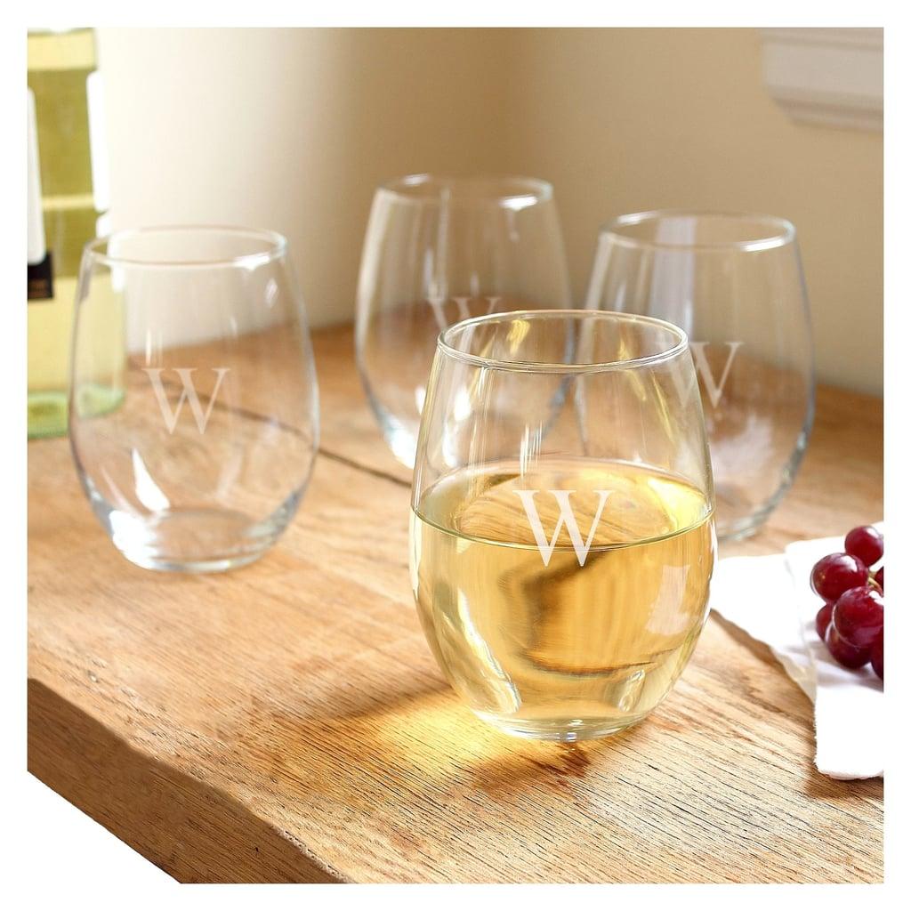 Cathy's Concepts Monogram Stemless Wine Glasses
