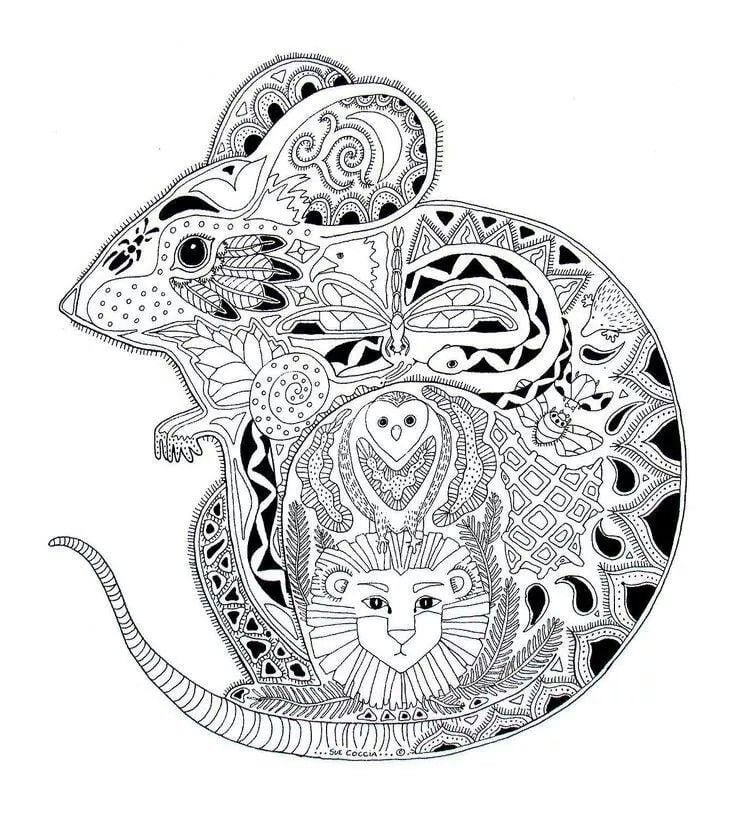 Get the colouring page: Mouse | Free Colouring Pages For Adults ...
