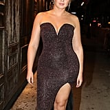 Iskra Lawrence Glitter Dress With Slit and Studded Mules