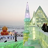 Even during the daytime, the ice sculptures looked incredible.