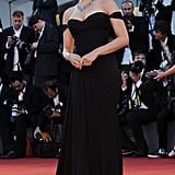 Scarlett Johansson showed off her new engagement ring at the premiere of her film Under the Skin at the Venice Film Festival after becoming engaged to her fiancé, Romain Dauriac, a month ago.
