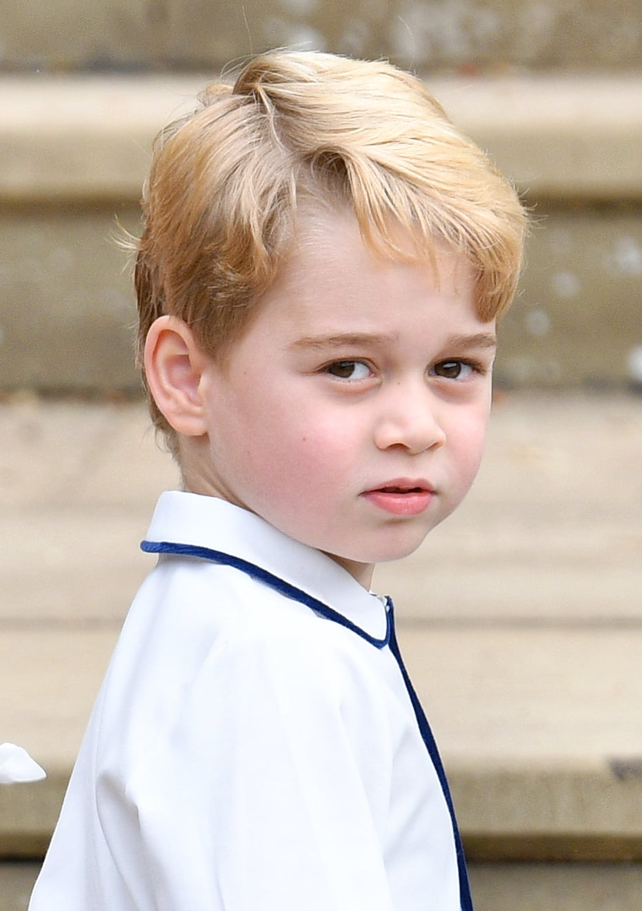 WINDSOR, UNITED KINGDOM - OCTOBER 12: (EMBARGOED FOR PUBLICATION IN UK NEWSPAPERS UNTIL 24 HOURS AFTER CREATE DATE AND TIME) Prince George of Cambridge attends the wedding of Princess Eugenie of York and Jack Brooksbank at St George's Chapel on October 12, 2018 in Windsor, England. (Photo by Pool/Max Mumby/Getty Images)