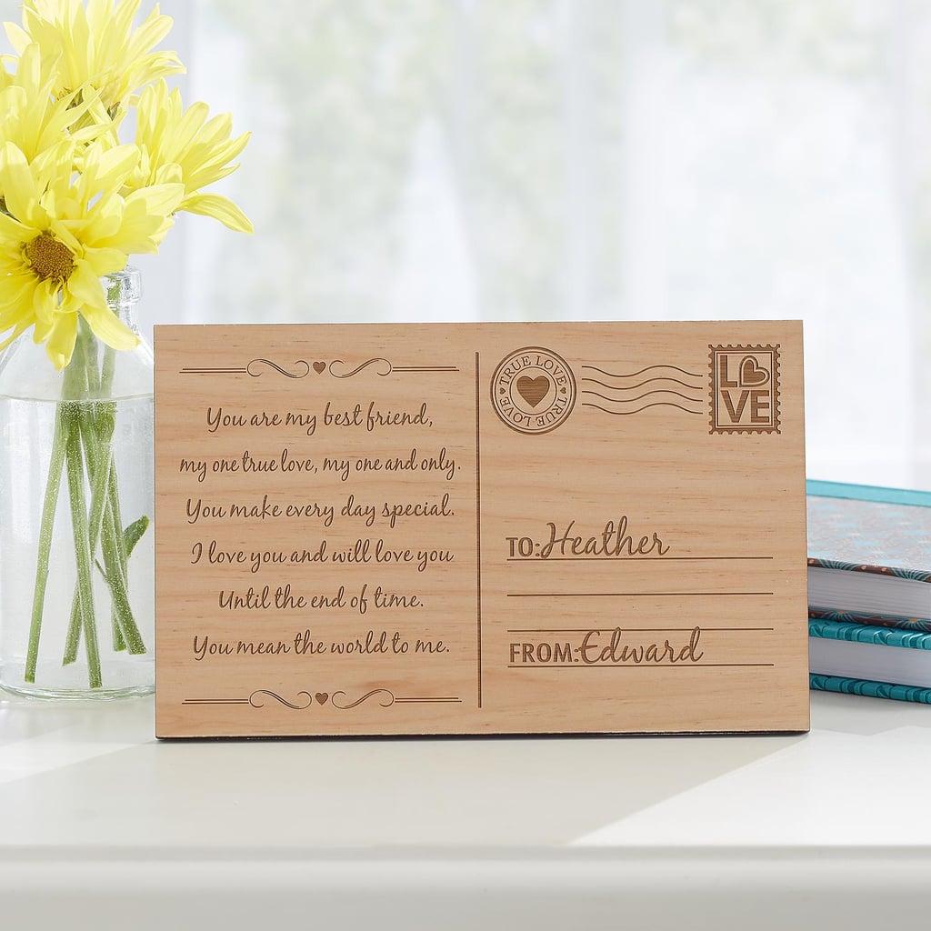 Sending My Love Wood Postcard ($20)