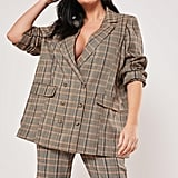 Missguided Plus Size Brown Co Ord Plaid Boyfriend Blazer
