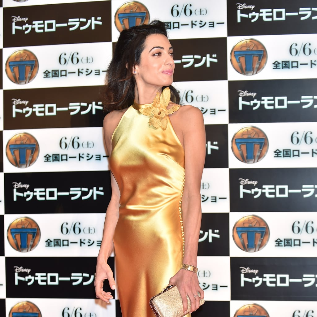Amal Clooney's Gold Tomorrowland Premiere Dress