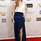 Amy Adams wore a black and white Vionnet gown with a slit.