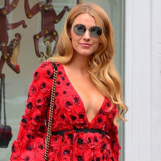 Blake Lively Wearing Red Michael Kors Dress at Fashion Week
