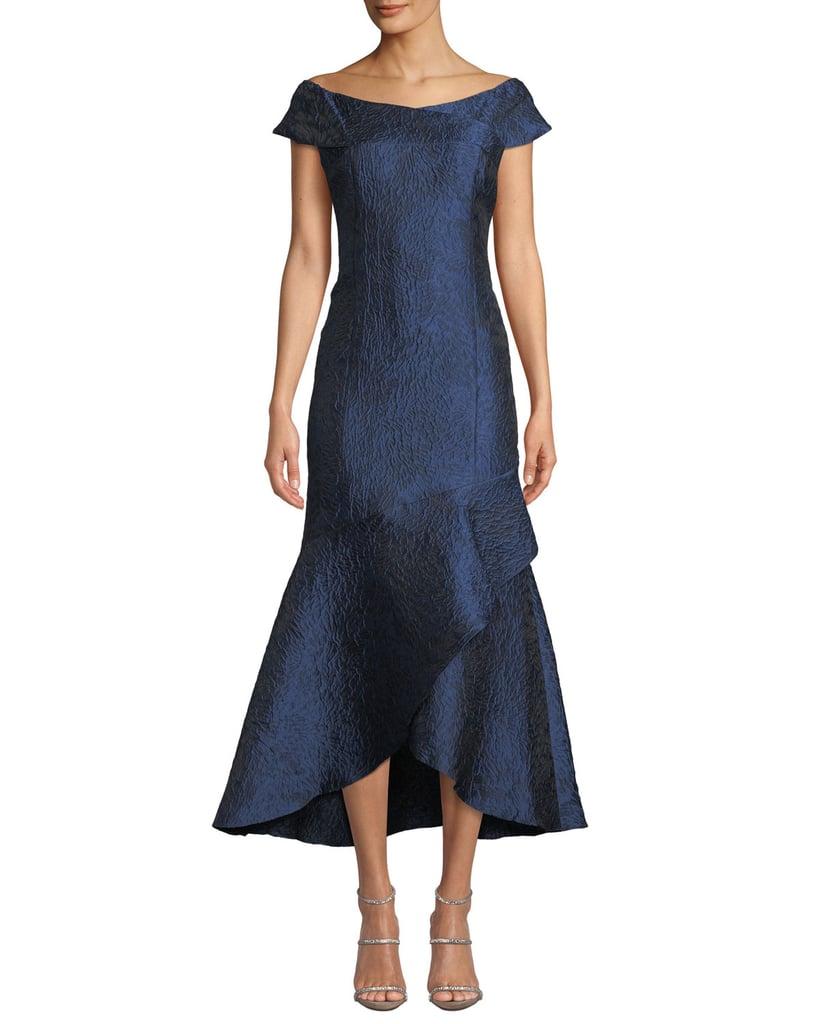 Shoshanna Trinity Jacquard High-Low Mermaid Gown