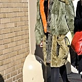 Caroline Issa bundled up in statement outerwear on her way to Ralph Lauren.