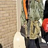 Caroline Issa bundled up in statement outerwear on her way to Ralph Lauren.