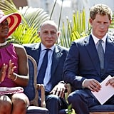 Harry is visiting the Bahamas as part of a Diamond Jubilee tour. He is visiting Belize, the Bahamas, Jamaica, and Brazil as a representative of Queen Elizabeth.