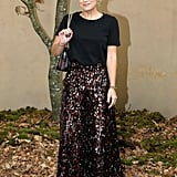 As Did Singer Lily Allen in a Textured Midi Skirt and Tee
