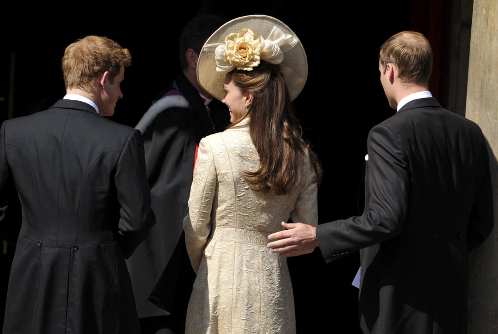 Kate gave Prince Harry a sweet glance when they arrived at Mike Tindall and Zara Phillips's wedding in July 2011.