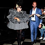 Lady Gaga Striped Minidress at Pre-Met Gala Dinner