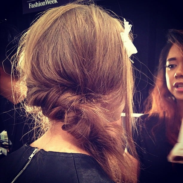 This romantic sideswept hair at Tadashi Shoji is the perfect style for Valentine's Day.
