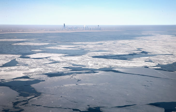 "Giant slabs of ""shelf"" ice topped Lake Michigan."