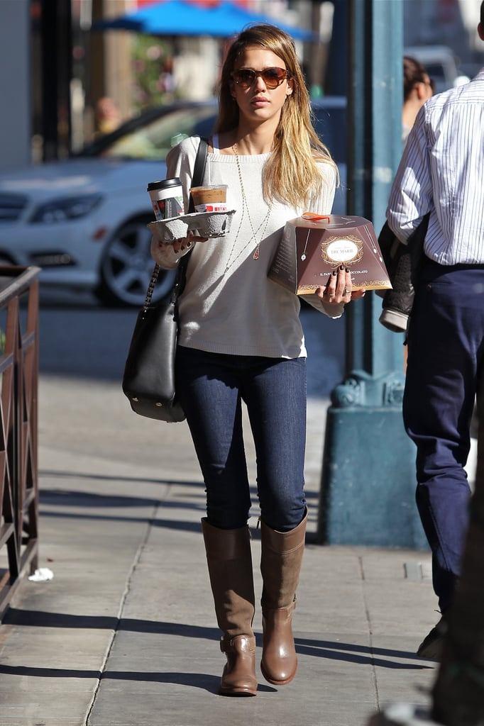 Even on a casual coffee run in LA, Jessica looked stylish in brown riding boots, a black Bulgari bag, and tortoise sunglasses.