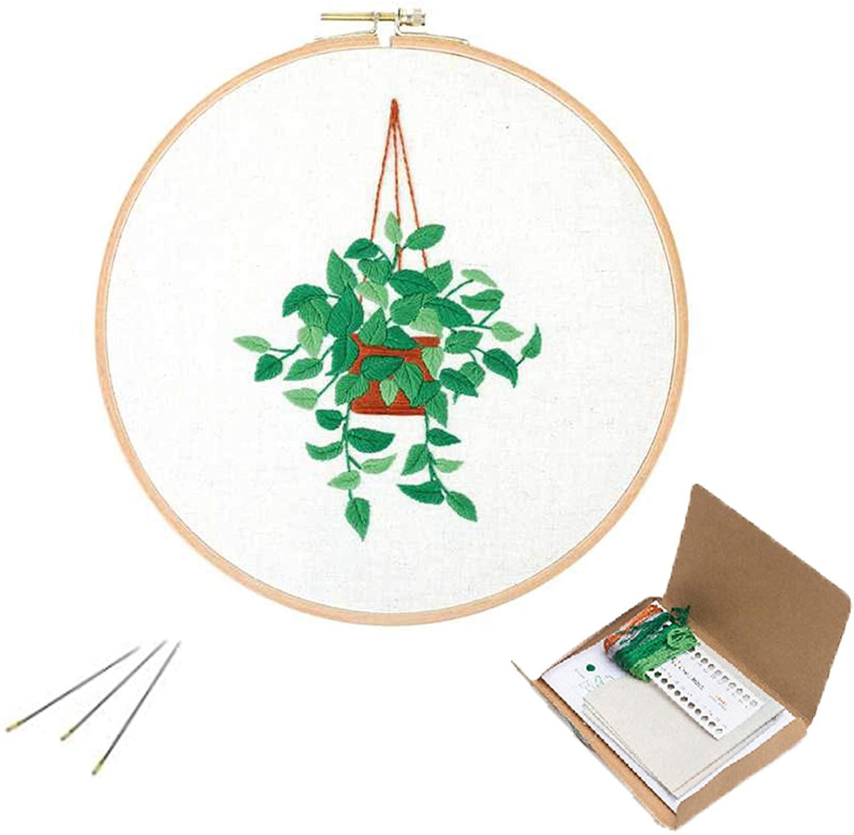 Joy Sunday Full Range of Embroidery Starter Kits Stamped Cross Stitch Kits Beginners 11CT Embroidery kit Panda Giving Flowers 13 x15.7 inch
