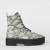 H&M Snakeskin Patterned Platform Boots