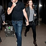 John Krasinski and Emily Blunt leave LAX.