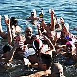 On Jan. 1, swimmers toasted with Champagne in the chilly water in Livorno, Italy.