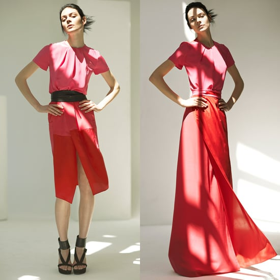 The Preen Resort 2012 collection offered several versions of the mix. Here, a colorblock dress (left) and a wrap-maxi look (right).
