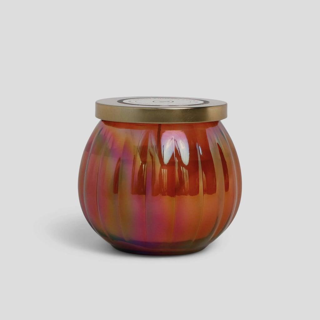 Harvest Pumpkin & Clove Lidded Iridescent Glass Jar Candle