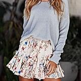 Gogoboi Floral Pleated Mini Skirt