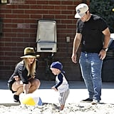 Hilary Duff and Mike Comrie played in the sand with Luca.