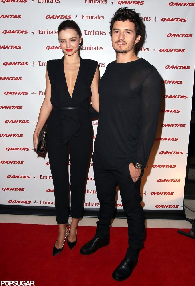 Orlando Bloom and Miranda Kerr posed together on the red carpet.