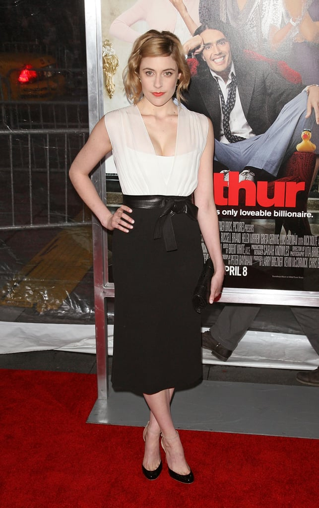 At the Arthur premiere in April 2011, Greta chose a black and white Narciso Rodriguez dress, available to buy now! 6855803