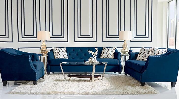 marvellous blue gray living room | Sofia Vergara — Rooms to Go | Best Celebrity Home Decor ...