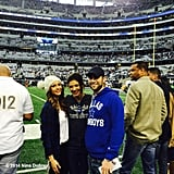 Nina Dobrev, Chace Crawford, and Jessica Szohr hung out near the field at the Dallas Cowboys vs. Philadelphia Eagles football game.