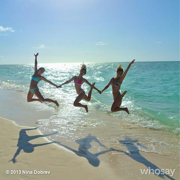 Nina Dobrev took an awesome jumping shot at the beach! Source: Nina Dobrev on WhoSay