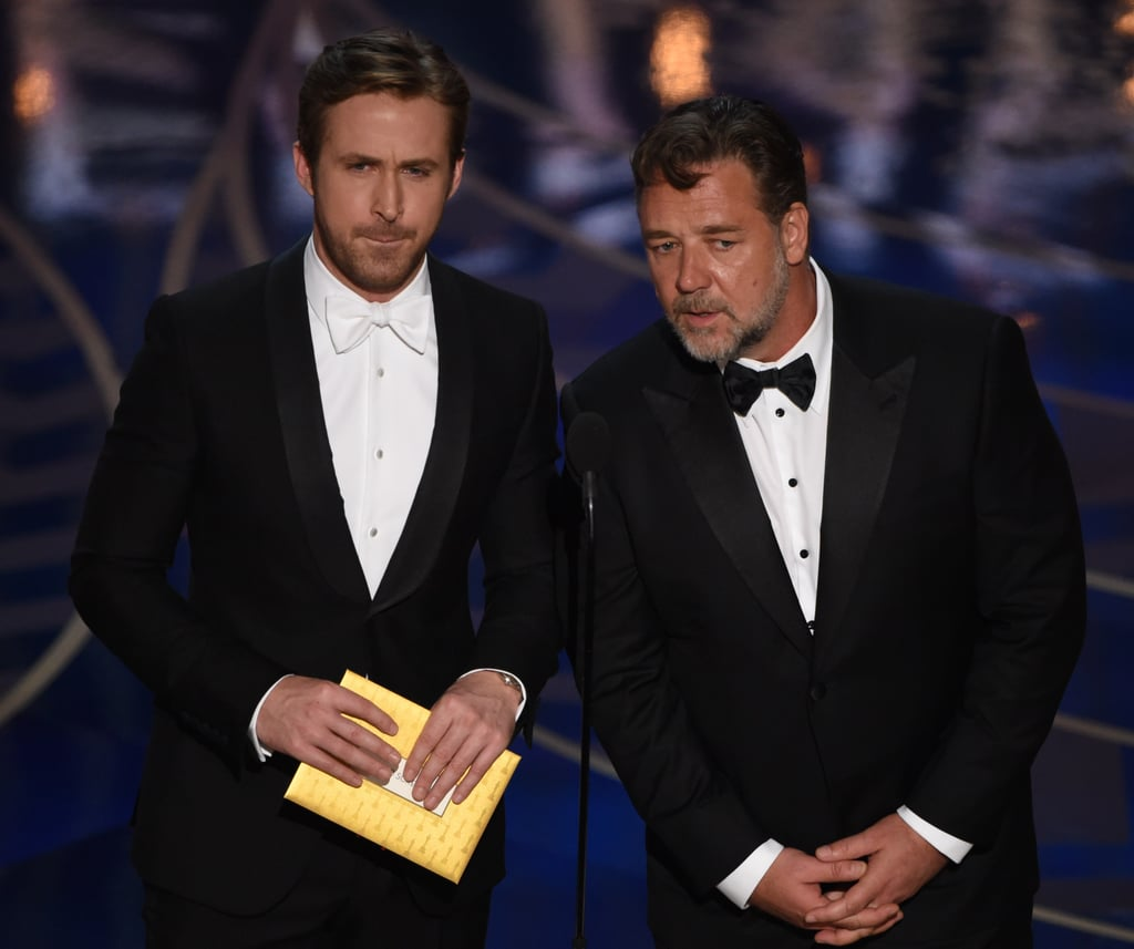 "Ryan Gosling and Russell Crowe took the stage at the Oscars to present the award for best original screenplay on Sunday night. Not only did the  Nice Guy costars give us a glimpse of their offscreen chemistry, but they also took turns poking fun at each other. At one point, Ryan said, ""Look, let's not fight. I mean, my God, we have two Academy Awards between us, this is beneath us,"" to which Russell responded with, ""Did you win an Oscar?"" But the jokes didn't stop there! Watch more hilarious interactions between Ryan and Russell above, and then check out all the Oscar winners."