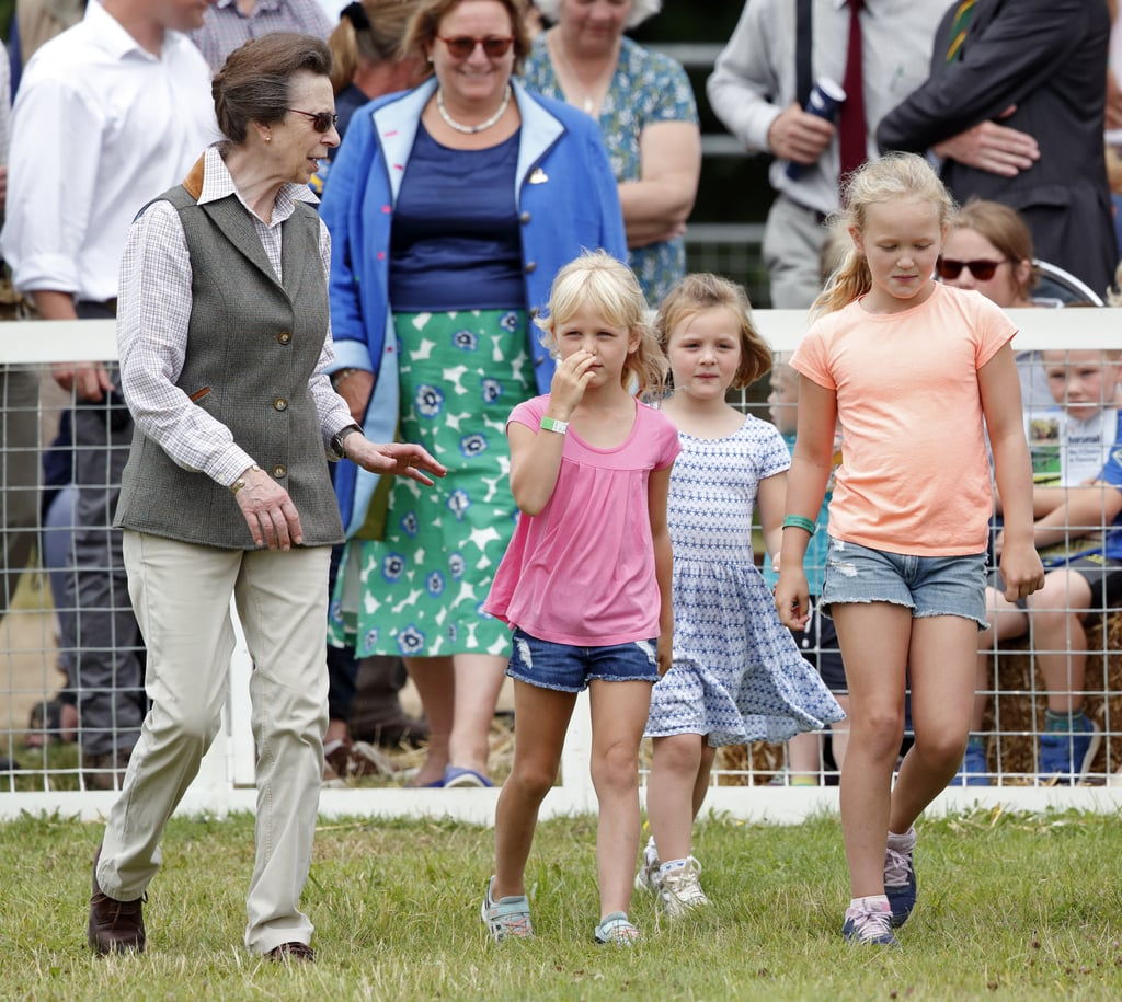 Princess Anne and Her Granddaughters Isla Phillips, Mia Tindall, and Savannah Phillips  in England in 2019