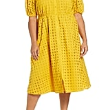 Eloquii Puff Sleeve Eyelet Midi Dress