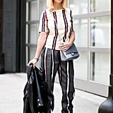 Zanna Roberts Rassi was stripe happy from head to toe.