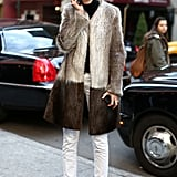 A two-toned fur lent a posh finish to staples, like a turtleneck knit and heels.